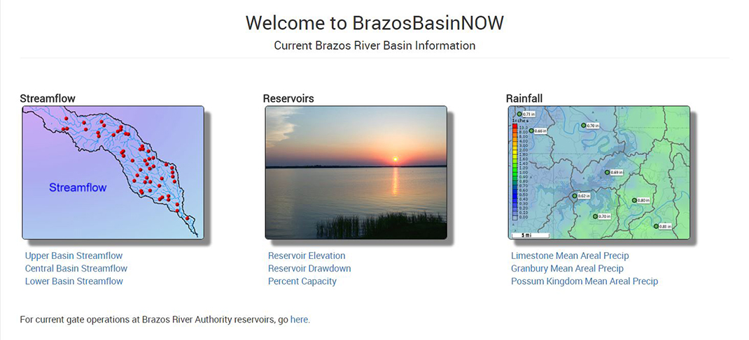 River and reservoir information when you need to know: BrazosBasinNOW